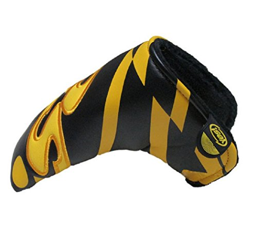 DBYAN Golf Blade Putter Cover Headcover with PU Leather Velcro Closure,Yes Printed Patterned Design for Scotty Cameron Ping Ansor,Black & Yellow