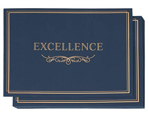 Holder Gold Diploma (Certificate Holder - 12-Pack Diploma Cover, Document Cover for Letter-Sized Award Certificates, 300 GSM, Excellence Gold Foil Print, Blue, 11.2 x 8.8 Inches)