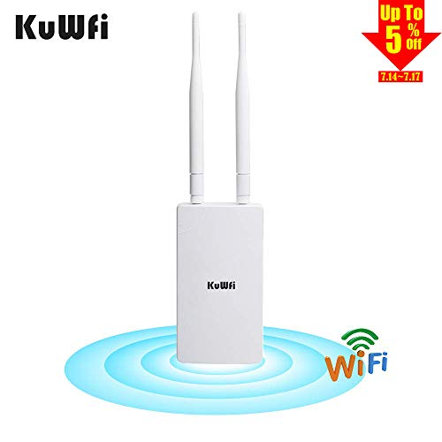 KuWFi 300Mbps Outdoor CPE Bridge Long Range WiFi Hotspot Outdoor Wireless Access Point Omnidirectional Coverage WiF Signal 48V POE ()