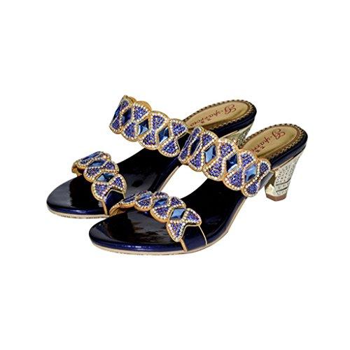 Meijili ,  Damen Peep Toes Blau