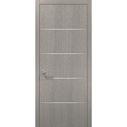 Panel Interior Oak Door - Modern Wood Interior Door 32 x 80 with Hardware | Planum 0020 Grey Oak | Single Pre-Hung Panel Frame Trims | Bathroom Bedroom Sturdy Doors