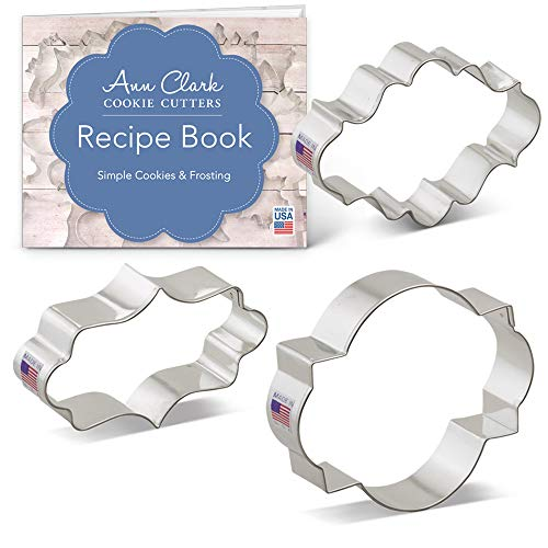 - Ann Clark Plaque Frame Cookie and Fondant Cutter Set with Recipe Card - 3 Piece - Long Fancy, Oval, Photo Plaques - USA Made Steel