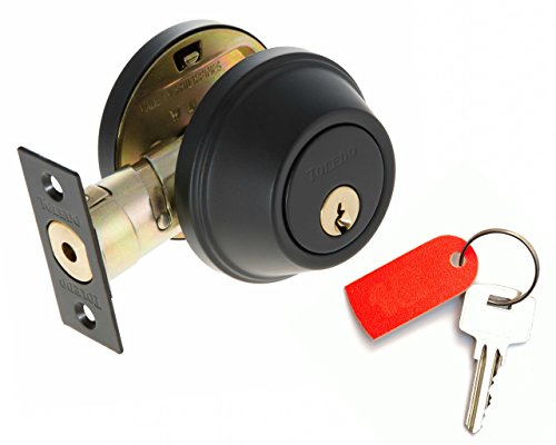Deadbolt Lock Set Double Cylinder : Keyed Alike : Anti Bump & Pick Security Prevents Break Ins : Black Iron US514 : by ()