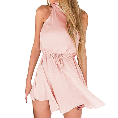 ▶HebeTop◄ Women's Lace Sexy Open Back Hollow Out Boho Playsuit Jumpsuit Romper Dress Pink