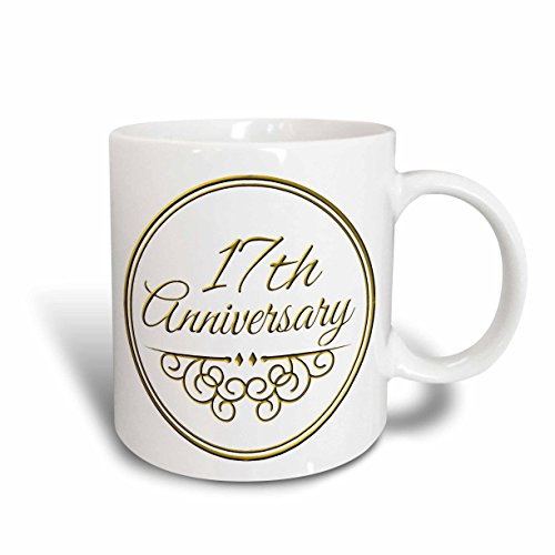 3dRose mug_154459_1 17Th Anniversary Gift Gold Text for Celebrating Wedding Anniversaries 17 Years Married Together Ceramic Mug, 11-Ounce