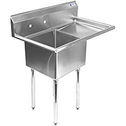 Gridmann 1 Compartment NSF Stainless Steel Commercial Kitchen Prep & Utility Sink w/ Drainboard - 39 in. Wide
