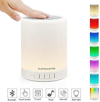 Lámpara de Noche LED, ELEPOWSTAR Luz de Noche con Altavoz Bluetooth, Brillo Ajustable y Cambiar 7 Colores, Lámpara de Mesa Noche con Control Táctil, Soporte para Bluetooth, Reproductor de MP3