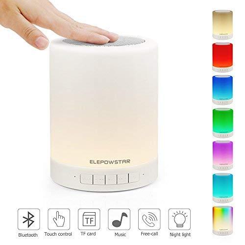 Lampara de Noche LED, ELEPOWSTAR Luz de Noche con Altavoz Bluetooth, Brillo Ajustable y Cambiar 7 Colores, Lampara de Mesa Noche con Control Tactil, Soporte para Bluetooth, Reproductor de MP3
