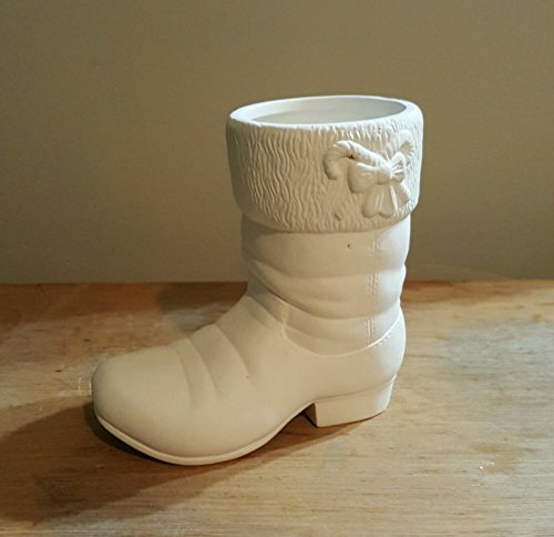 Christmas Boot with Candy Cane Glazed inside Candy Dish unpainted ceramic bisque ready to be painted