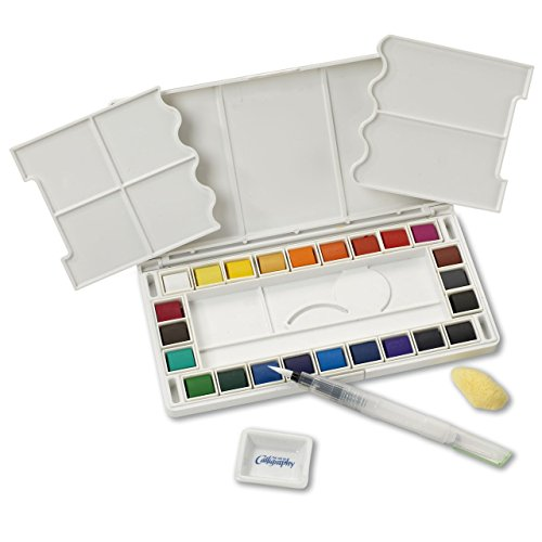 Jerry-Q-Art-24-Assorted-Water-Colors-Travel-Pocket-Set-Free-Refillable-Water-Brush-With-Sponge-Easy-to-Blend-Colors-Built-in-Palette-Perfect-For-Painting-On-The-Go-JQ-124