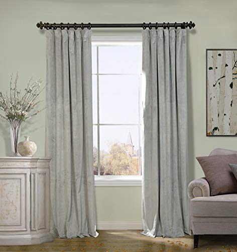 ChadMade Extra Wide Drape 100W x 96L Inch Solid Matt Luxury Heavyweight Velvet Curtain Drape with Blackout Lining Flat Hook or Ring Clip Heading for Track, Silver Grey (1 Panel) (140gsm Matt)