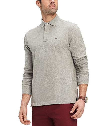 Tommy Hilfiger Mens Long Sleeve Mesh Polo Shirt (Grey, Medium)