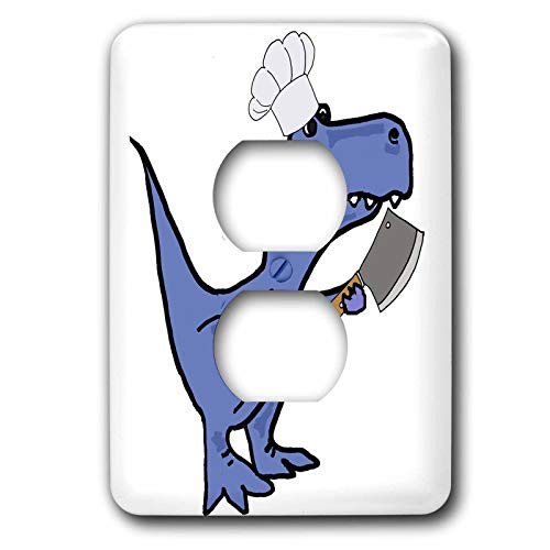 3dRose All Smiles Art Sports and Hobbies - Funny T-rex Dinosaur in Chefs Hat with Meat Cleaver Cooking - Light Switch Covers - 2 plug outlet cover (lsp_288015_6)