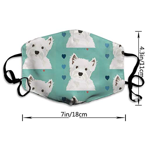 NOT West Highland Terrier Personality Lovely Unisex Dust Mask, Suitable for Young Men and Women, Ski Bike Camping Windproof Motorcycle Face Mask