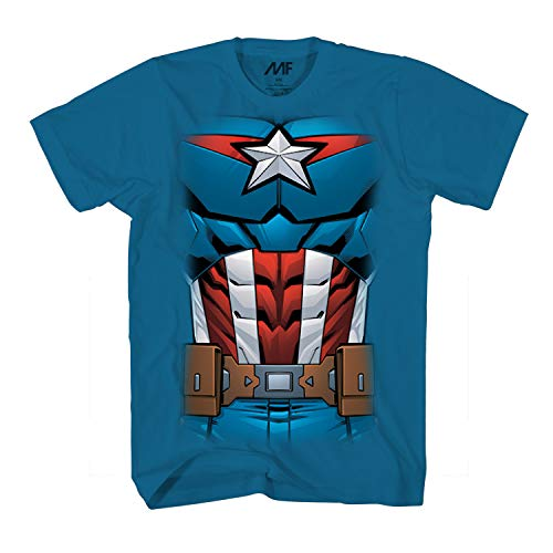 Marvel Captain America Comic Costume Adult T-Shirt (Blue,X-Large) -