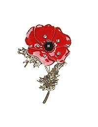 HighPlus Poppy Flower Corsage Rhinestone Brooch Clothing Pin
