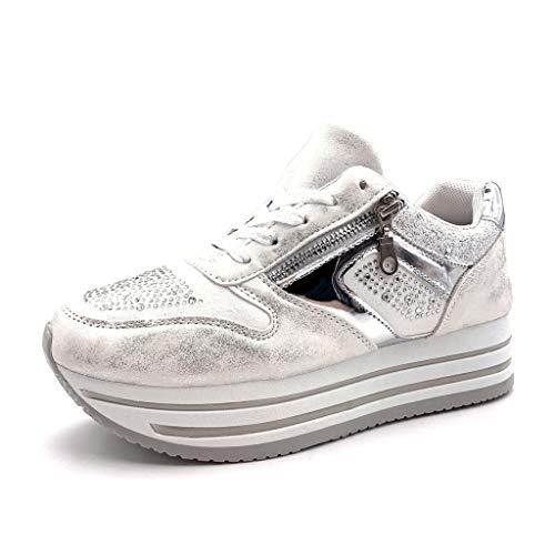 Moda Bianco 4 Zeppe Tennis Donna Lucide Sporty Sneaker Chic Strass Piattaforma Zip Zeppa Angkorly Tacco Scarpe Cm T65qaa