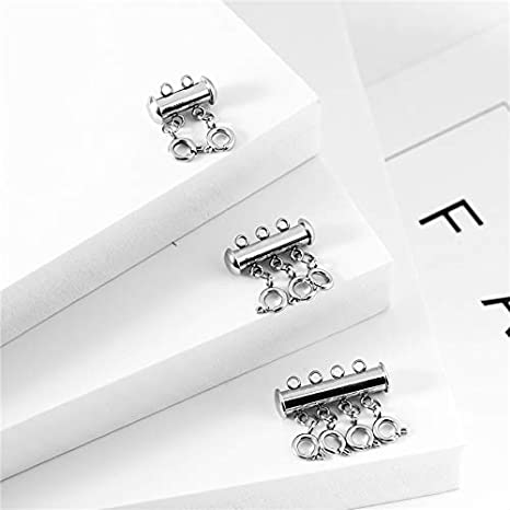 2/&3 Strand,Gold /& Silver 8Pcs Necklace Sider Clasps Layered Necklace Spacer Clasp Slide Magnetic Tube Lock for Jewelry Crafts