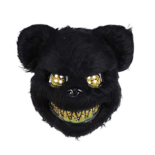Amosfun Scary Bear Mask Halloween Animal Cosply Mask Fancy Dress-up Accessory for Halloween Masquerade Cosply Costume Party Mask (Black)]()