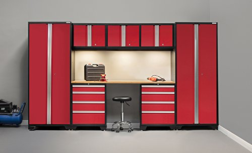 NewAge Products 50276 Bold 3.0 Cabinetry Set with Bamboo Work Top (8 Piece), Red