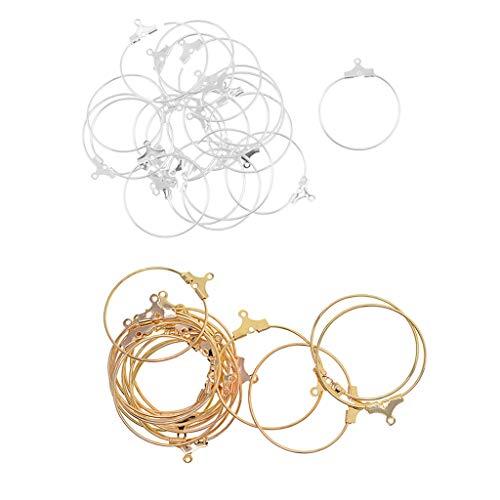 Fenteer 40 Pieces 25mm Holiday Wearing Gifts Large Size Hoops Earrings Big Hoop Dangles Round Rings DIY Earring Accessories (25 Mm Hoop Round)