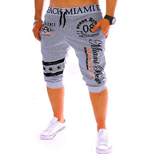 Men's Sport Pants Capri Pants - LimseaFashion Printing Shorts Drawstring Elastic Waist Casual Loose Gym Bodybuilding Joggers Grey -