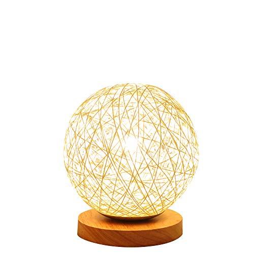 BOKT Minimalist Novelty Romantic Solid Wood Table Lamp for Bedroom Bedside Desk Lamp Home Decor Rattan Ball Lampshade (Beige) by BOKT (Image #5)