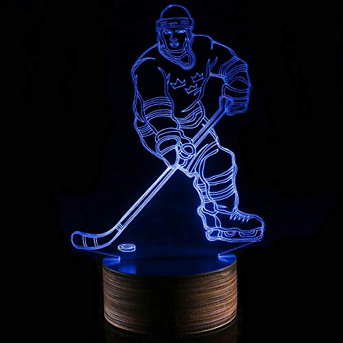 Novelty Lamp, 3D LED Lamp Hockey Player Optical Illusion Night Light, USB Powered Remote Control Changes The Color of The Light, Ideal Gift for Children's Friends and Family,Ambient Light by LIX-XYD (Image #4)