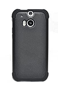 HTC One M8 Case Black Hybrid Dual Layer Padded Corners and Front Bumper Combo Case Tough Armor Protective Case Skin Cover for the All New HTC One / HTC One M8 / HTC One 2 / HTC One 2014 : Black Rhino (Black Color)