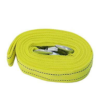 KOOYAOO Dual Webbing Heavy Duty Tow Strap With Safety 2 Hooks Yellow Vehicle Tow Strap 10,000LB