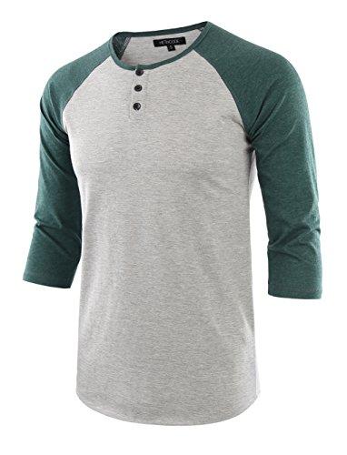 (HETHCODE Men's Casual Raglan Fit Soft Baseball 3/4 Sleeve Henley T-Shirts Tee H.Gray/Green M)