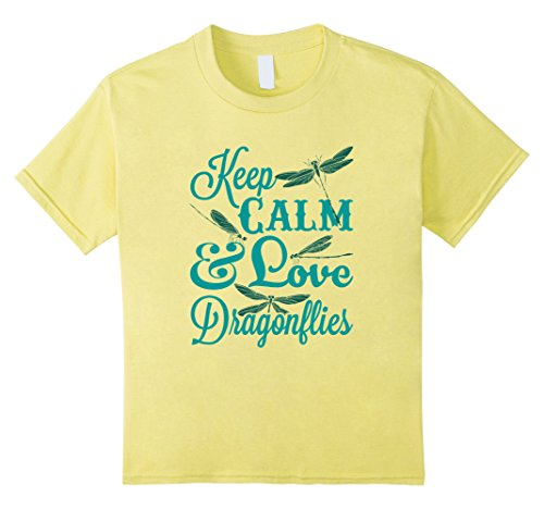 Kids Dragonfly T Shirt -- Keep Calm & Love Dragonflies 10 Lemon (Dragonflies For Kids)