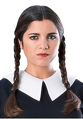 Secret Wishes  Costume The Addams Family Deluxe Wednesday Wig, Black, One Size]()