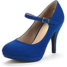 DREAM PAIRS Women's LILICA Mary-Jane Close Toe Stilleto Platform Heel Pump Shoes