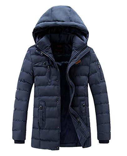 Outwear Padded today Winter Warm Hooded Down UK Jacket Casual Zipper Men Blue Thicken cwwCZxqpP