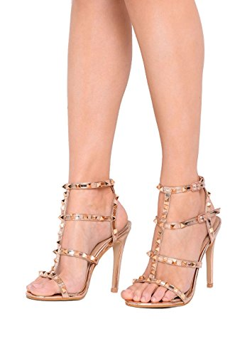 Sandals Metallic Strappy Women's Studded Boutique Heeled Stiletto Gold Lily's Shoes qxRFZf1
