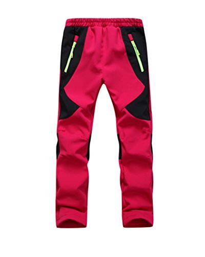 - Youth Snow Pants with Reinforced Knees and Seat,Warm Climbing Trousers For Boys and Girls Red S
