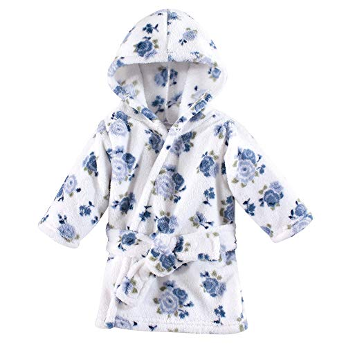Luvable Friends Plush Bathrobe, Blue Floral, 0-9 Months