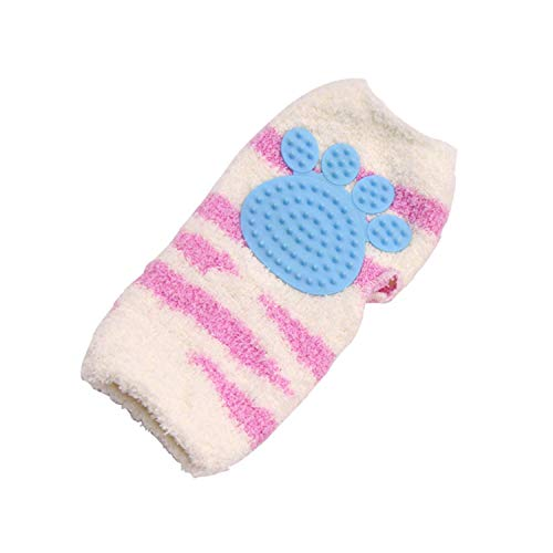 Fluffy Gloves Dog Cat Bathing Massage Comb Hair Multi-Function Gloves Pet Grooming Glove Gentle Dog Grooming Glove Horses with Long and Short Fur/Hair (Color : Blue, Size : -)