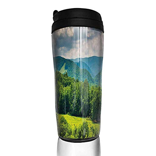 coffee cups set of Landscape,View of Mountains in Potomac Highlands of West Virginia Rural Scenery Picture,Forest Green 12 oz,cup for coffee