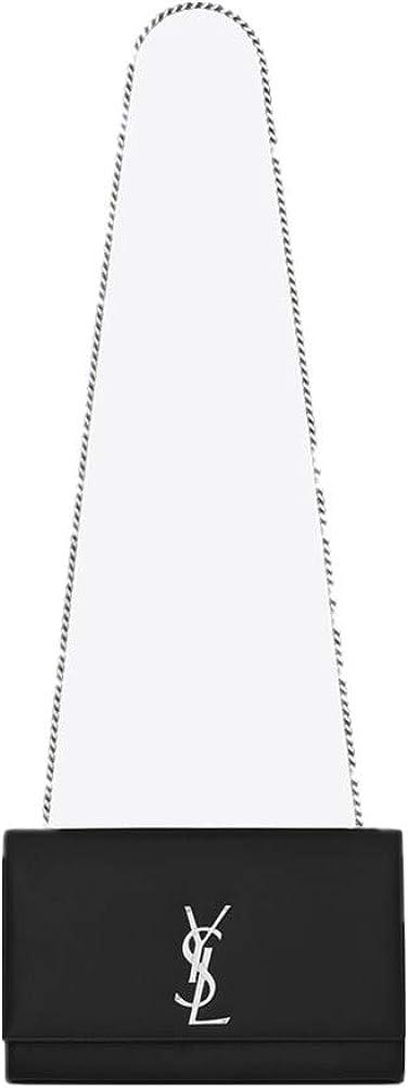 Saint Laurent Women's Classic Medium KATE Black Grained Leather Shoulder Bag (Silver Tone Hardware)