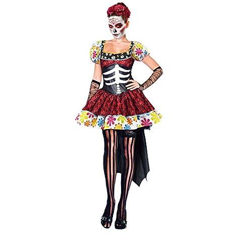 Partilandia Disfraz de Esqueleto Mejicana Catrina Día de los Muertos Mujer Adulto para Halloween (S)