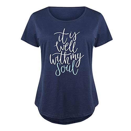 (It is Well with My Soul - Ladies Plus Size Scoop Neck Tee Navy)