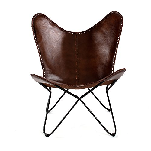 Madeleine Home Montreux Iron BKF Butterfly Chair with Leather Seating Handmade with Solid Metal Frame Indoor Furniture Office Balcony Home Patio Living Room Brown