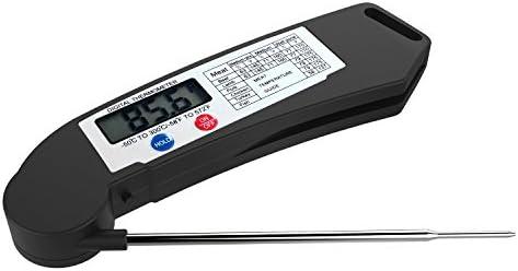 Termómetro Digital de Cocina - Termómetro con Función de Apagado Automático, Ajustable 180° de Acero Inoxidable Sonda para Alimentación, Carne, Leche, ...