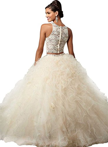 Champagne Dresses Ruffles Ball Damen Quinceanera Beaded Purple Two Pieces Spitzen Kleider Fanciest HzAPZxx