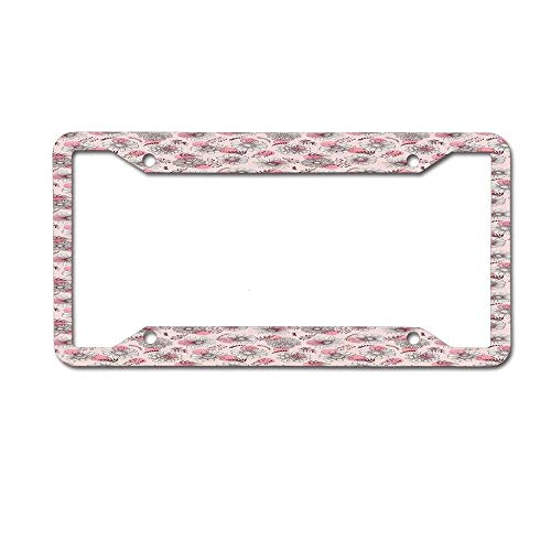 Dinzisalugg Sketch Outlines of Flowers on Watercolor Effect Dotted Background License Plate Frame Car tag Cover Aluminum Car for US Canada Standard 4 Holes and Screws