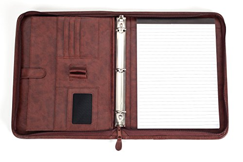Professional Business Padfolio Portfolio Briefcase Style Organizer Folder With Handles Notepad and 3 Ring Binder - Brown Synthetic Leather... Photo #8