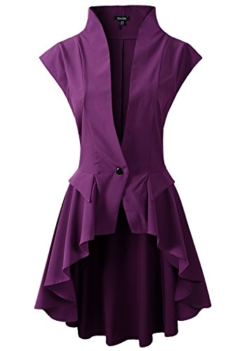 (Womens Gothic Steampunk Tail Vamp Long Victorian Waterfall Waistcoat Jacket Top (US8,)