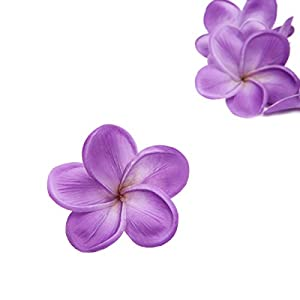 Unigift Bunch of 10 PU Real Touch Lifelike Artificial Plumeria Frangipani Flower Without The twig Bouquets Wedding Flowers Home Party Decoration (Purple) 2